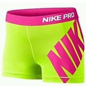 NEON Yellow and Pink Nike Pro Shorts 💛💕